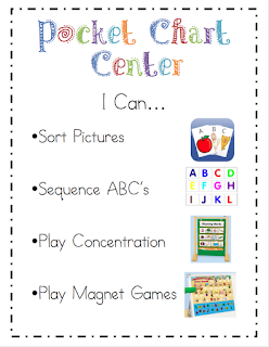 """Literacy Center """"I Can"""" Cards {Freebie}"""