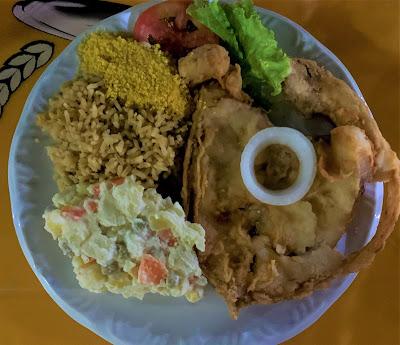 prato de comida com peixe, baiao de dois, salada de batata e farofa