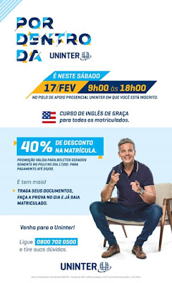 Guajará-Mirim: UNINTER oferece desconto de 40% na matrícula em cursos de graduação, neste sábado, 17 de fevereiro