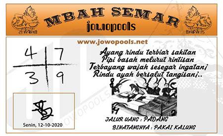 Syair Mbah Semar SGP Senin 12 Oktober 2020