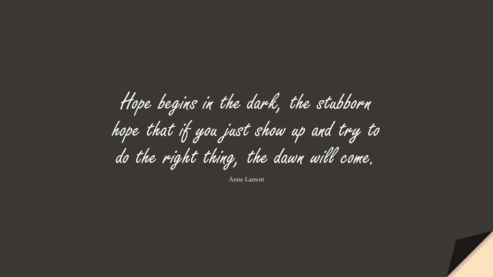 Hope begins in the dark, the stubborn hope that if you just show up and try to do the right thing, the dawn will come. (Anne Lamott);  #HopeQuotes