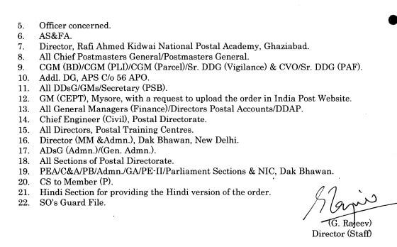 Promotion and posting of HAG officers of Indian Postal Service, Group A to HAG+