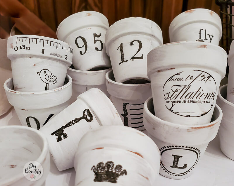white painted seedling pots with stamped images