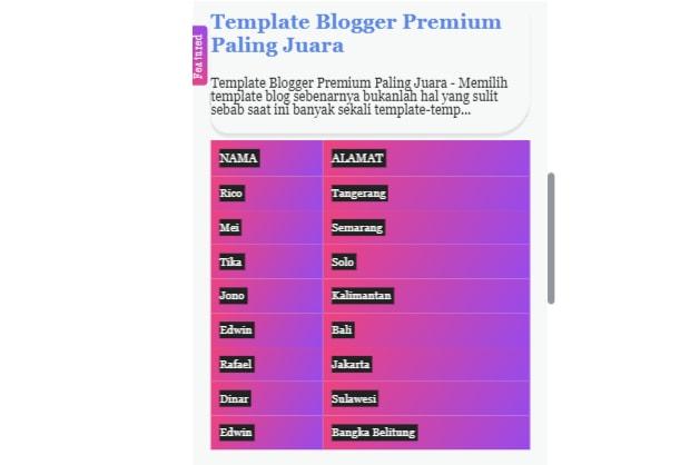 Membuat Tabel Responsive Blog Dengan Efek Linear Gradient