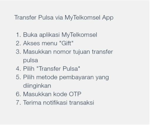Transfer Pulsa via MyTelkomsel App