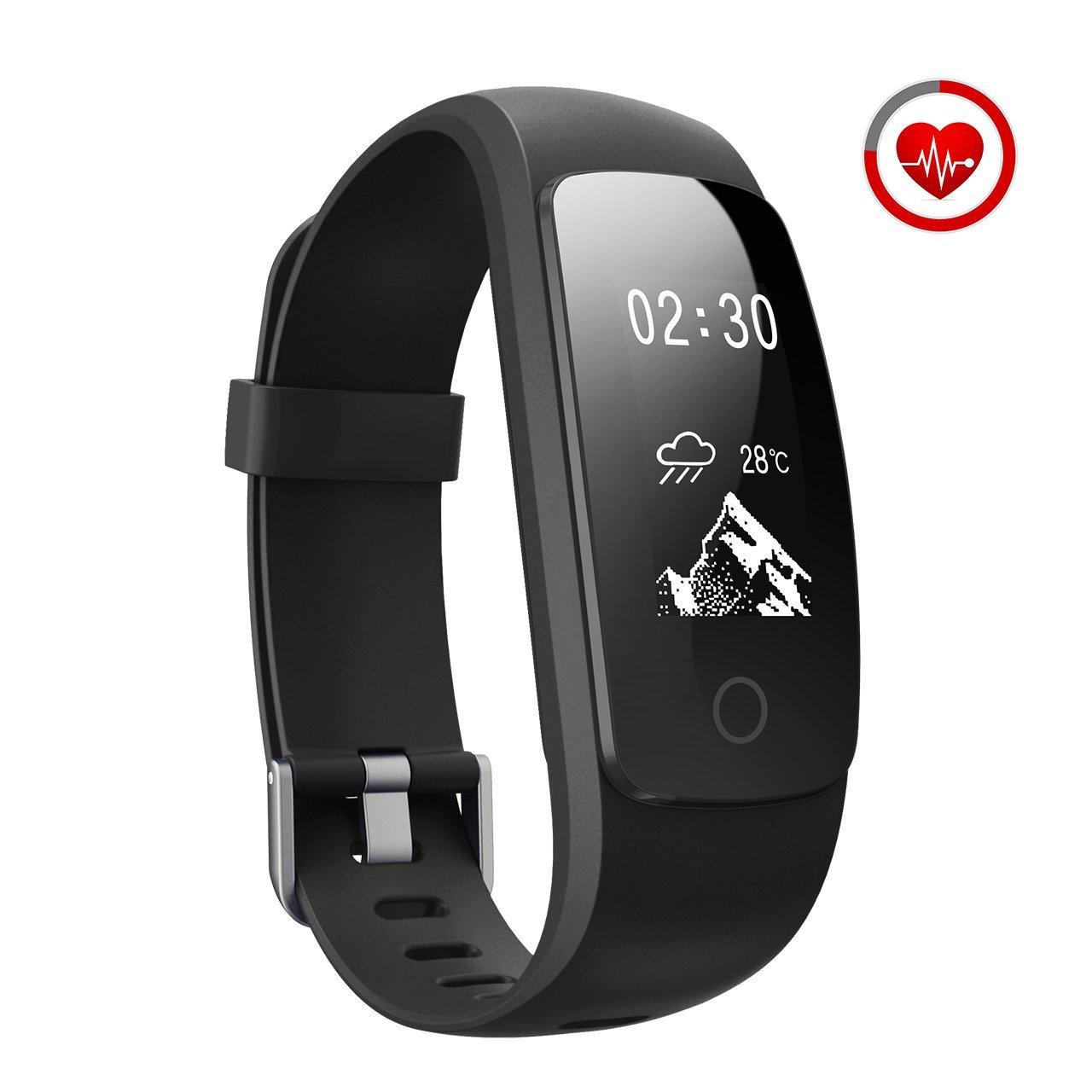 JoyGeek Cardiofrequenzimetro, bracciale intelligente, tracciatore di attività sportiva, orologio intelligente con controlli per musica e fotocamera, monitoraggio del sonno, podometro, conta calorie, gps, notifiche per chiamate e sms, per iPhone Samsung Huawei