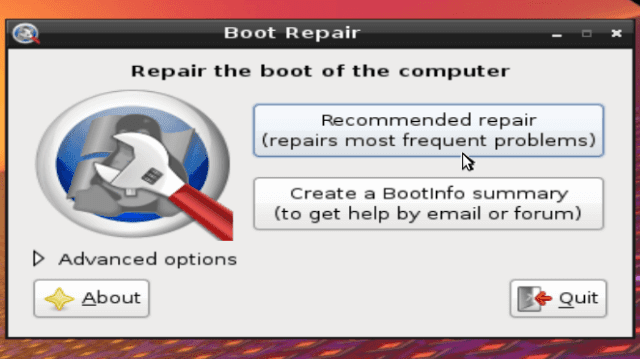 Repair the boot of the computer