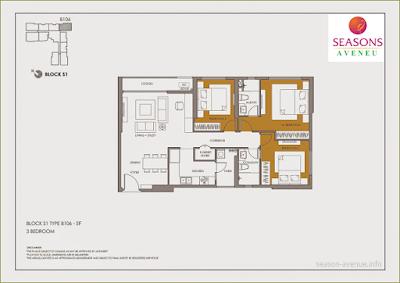 Mặt bằng căn hộ Seasons Avenue -  B106