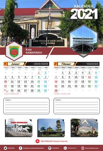 Desain Kalender Dinding 2021 Format 2 Bulan