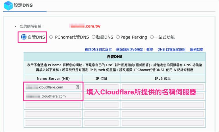 PChome自訂DNS介面