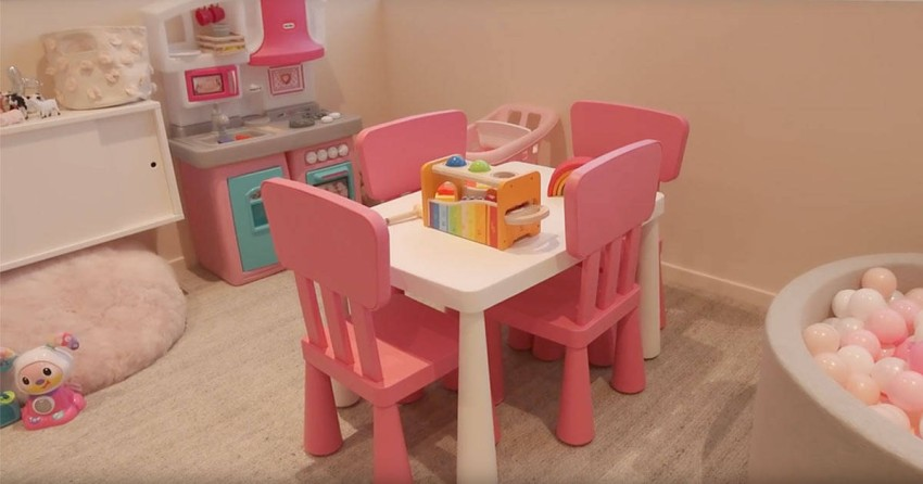 There is a private playroom for her daughter Stormi at the headquarters of her beauty brand Kylie Cosmetics has a large room full of toys for her daughter, Stormi, because Kylie usually takes her daughter with her to the workplace a lot, and is keen to spend a lot of time with her, even when she is busy, so she has her own room full of toys inside the headquarters her company.