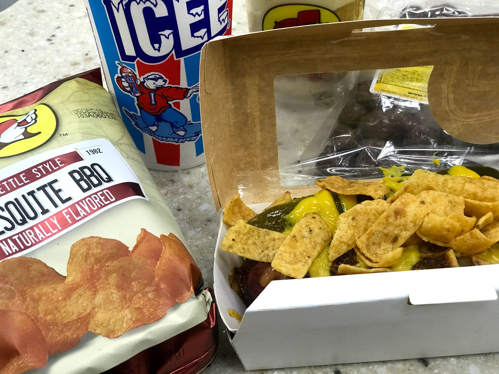 Image: Food bought from Bucee Beaver Gas Station in Denton Texas, chips, hot dog,pudding cup and drink. seen first on Bits and Babbles Blog