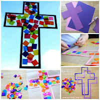 Easter Activities for kids. Cross Suncatcher Craft
