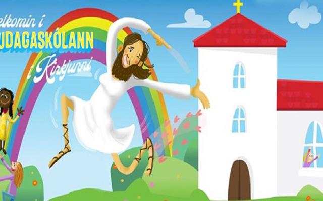 Bikin Heboh, Gereja Islandia Tampilkan Gambar Yesus Berpayudara Menari di Bawah Pelangi