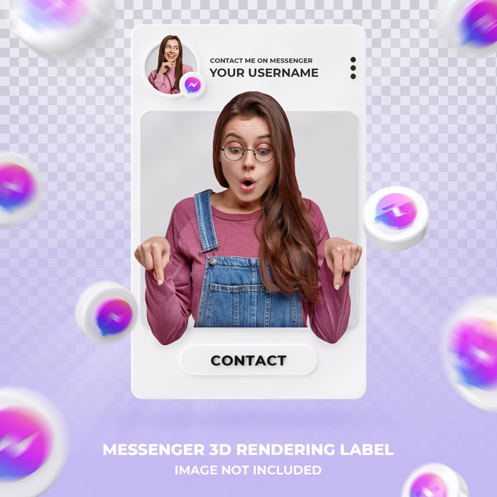 Banner Icon Profile On Messenger 3D Rendering Label Template