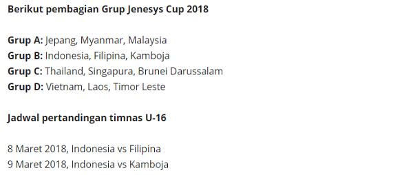 Main di Turnamen di Jepang, Timnas Indonesia U-16 Masuk Grup B
