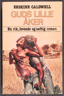 "A cover for a Norwegian printing of ""God's Little Acre,"" featuring a man grabbing a woman from behind in a field."