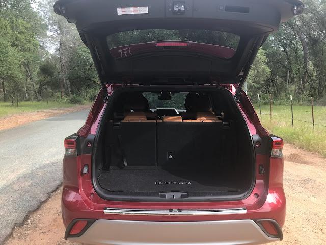 Tailgate open on 2020 Toyota Highlander Hybrid Platinum AWD
