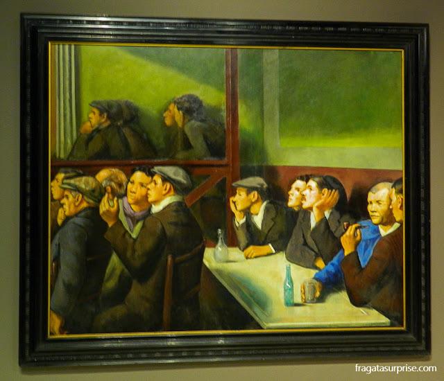 Espectadores, pintura de Francesc Domingo no Museu Nacional de Arte da Catalunha, Barcelona