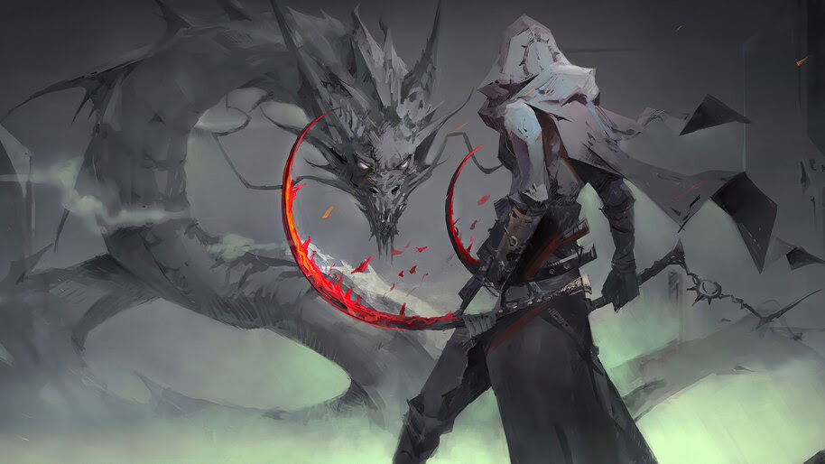 Fantasy, Warrior, Dragon, 4K, #6.2532