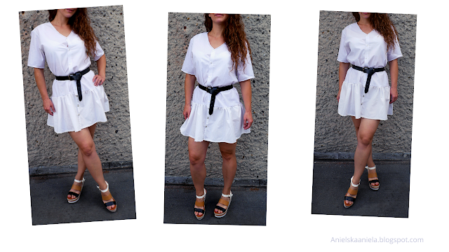 diy | ruffle hem dress | men's shirt refashion | sukienka z męskiej koszuli