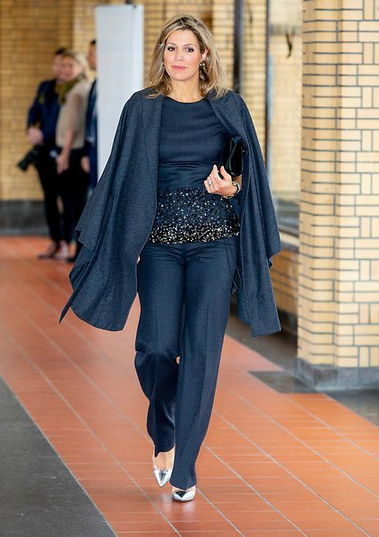 Queen Maxima wore Natan coat, Natan embroidered top and Natan trousers, she wore  Gianvito Rossi plexi pumps