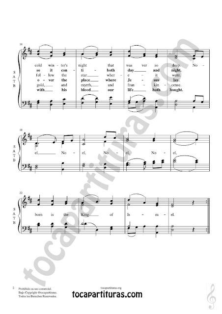 Partitura JPG gratis de The First Noel Coro a cuatro voces SATB letra en inglés Choral SATB Sheet Music for 4 voice (soprano, alto, tenor, baritone) La Primera Navidad