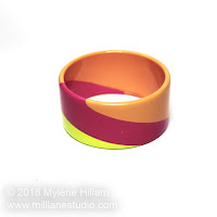 Colour blocked urethane resin bangle cast with FastCast resin