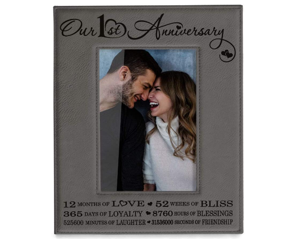 engraved leather picture frame
