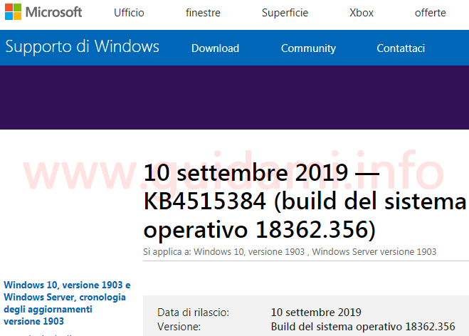 Microsoft support pagina web con note di rilascio update KB4515384