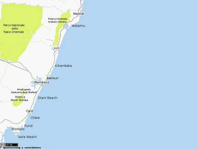 Cartina della regione costiera del Kenya (Gobbler)