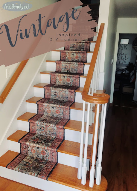 Vintage Persian Rug inspired diy throw rug Stair runner artisbeauty.net Karin Chudy