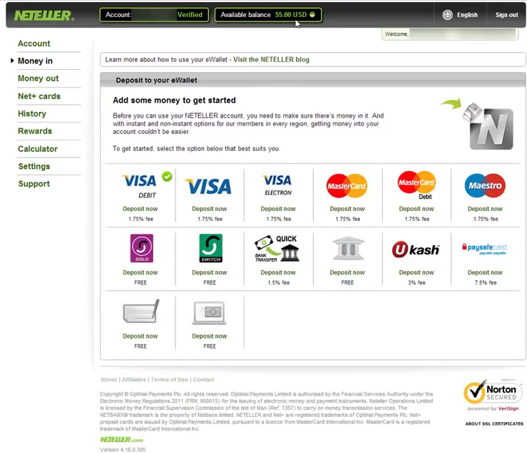 Neteller Account Deposit Screen