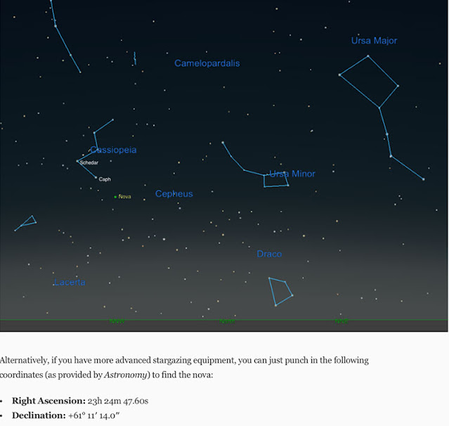 Location and RA and Dec for recent supernova in Cassiopeia (Source: Apple News)