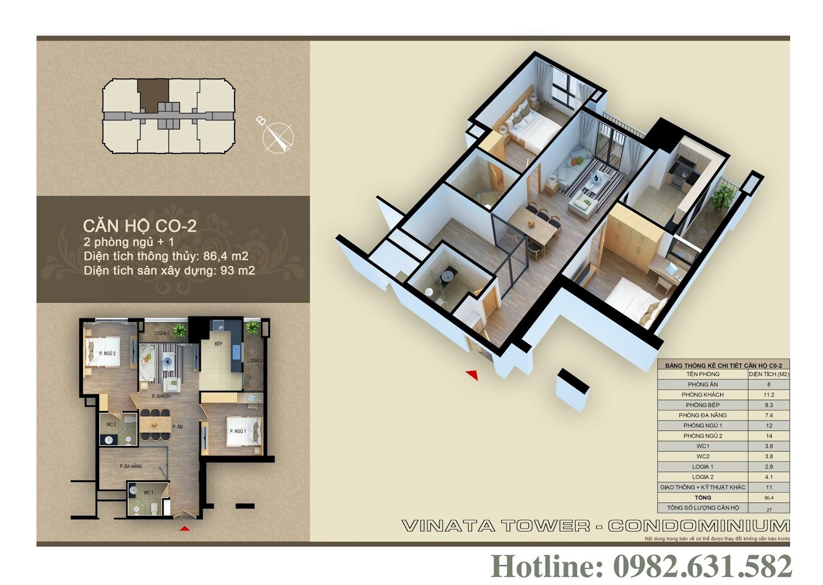 Thiết kế căn hộ chung cư Vinata Tower CO-02