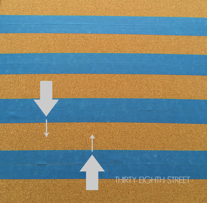 paint bleed through, painters tape, how to use painters tape, painting a bulletin board, create stripes with painters tape