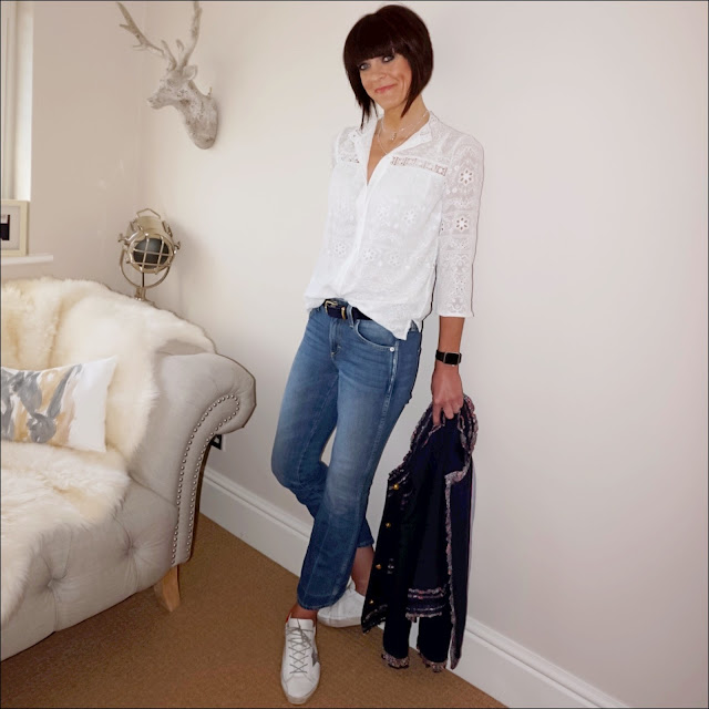 My Midlife Fashion, j crew lady jacket with liberty trim, golden goose superstar low top leather trainers, j crew moleskin navy belt, j crew Jane cropped kick flare jeans, olia jewellery gracie double layered star necklace , somerset by alice temperley lace broderie blouse