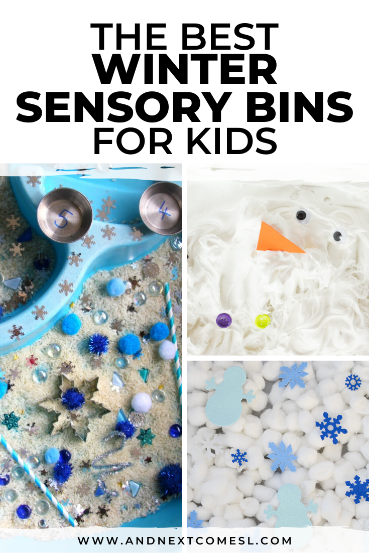 Winter sensory bin ideas for toddlers, preschool, and kindergarten children