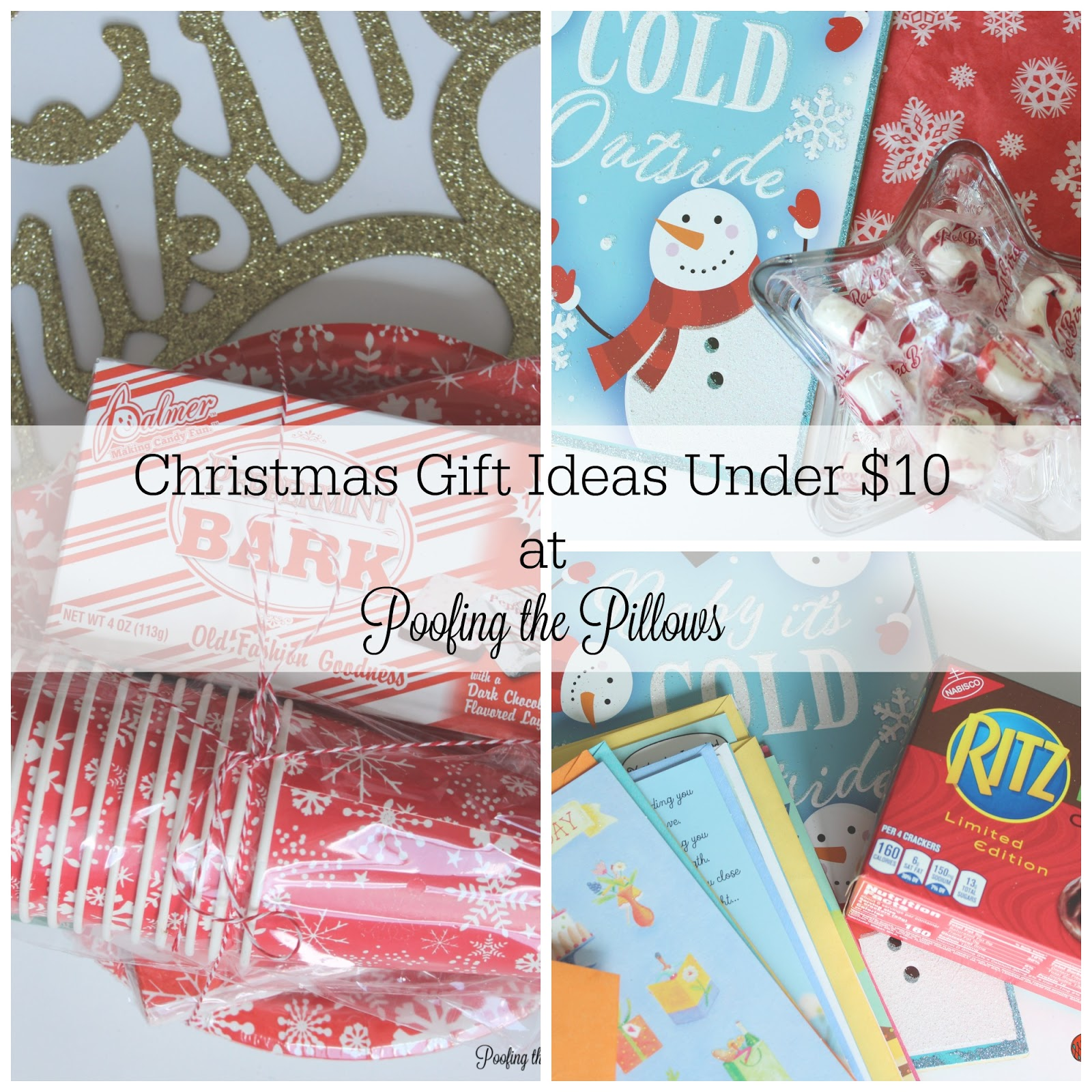 Christmas gift ideas under $10 at Poofing the Pillows.