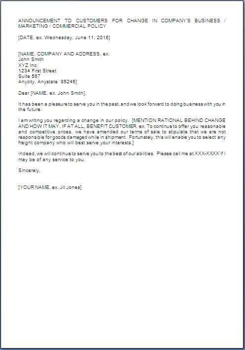 Policy Change Letter To Customers