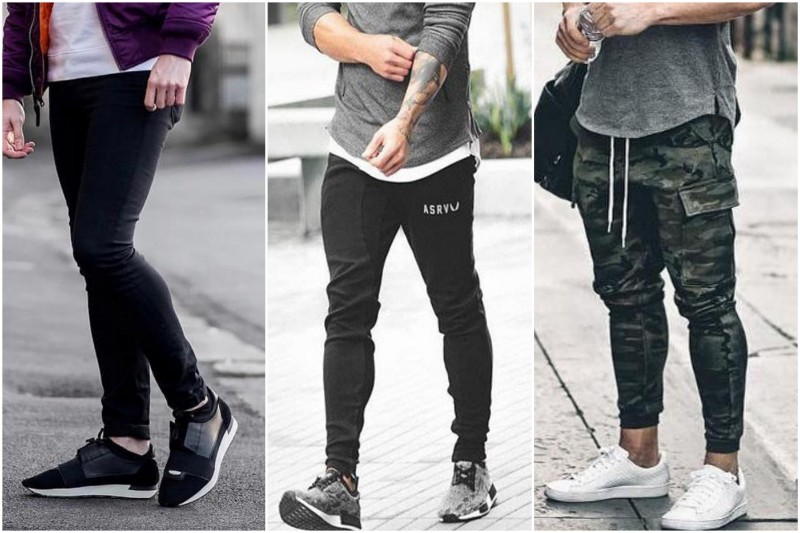 Three guys wearing three different types of joggers.