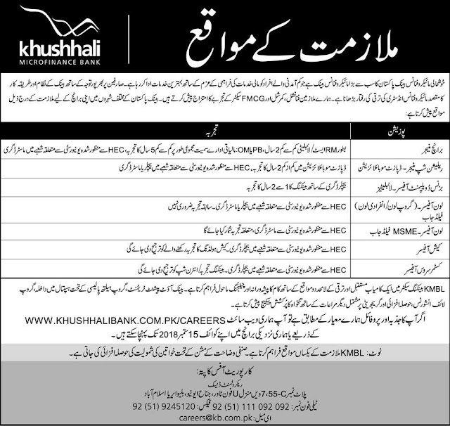 New Jobs in Khushhali Bank 2018