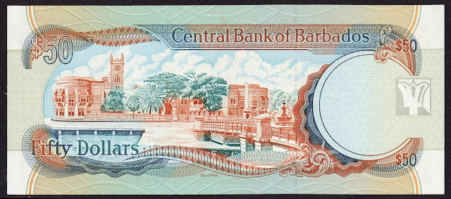 Barbados money currency 50 Dollars banknote 1998