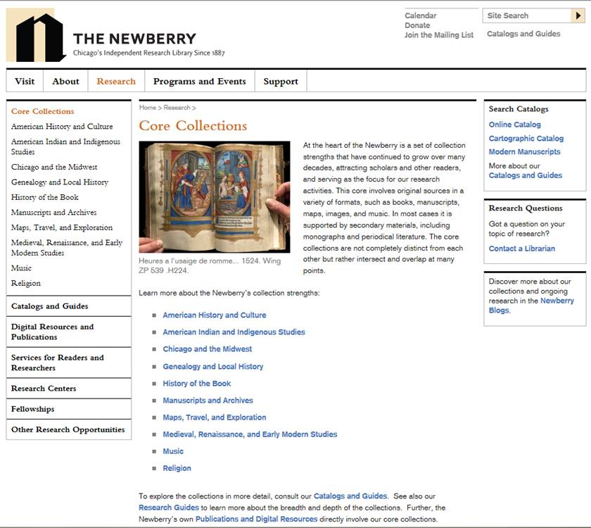 The Newberry Core Collections