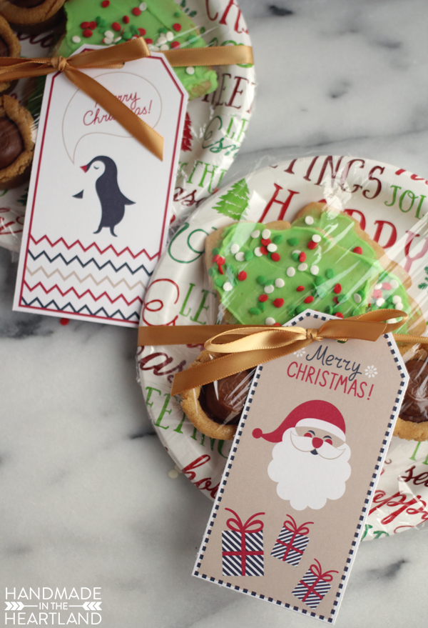 cut out cookies and free printable Christmas gift tags