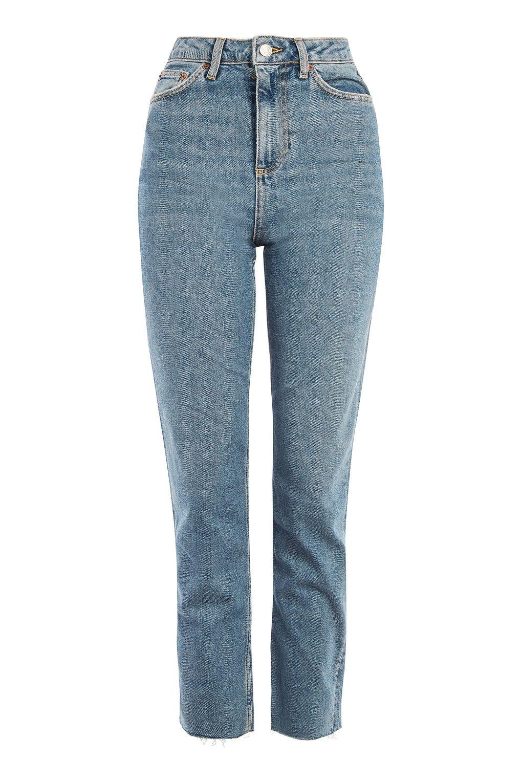 raw hem straight leg mid wash blue jeans denim topshop