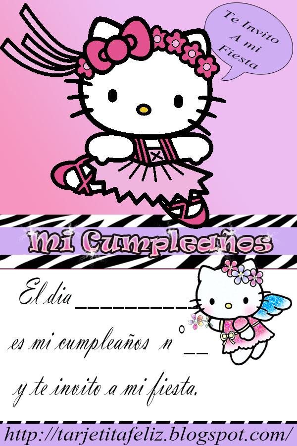 Tarjetas De Cumpleaños Para Imprimir Invitación Hello Kitty