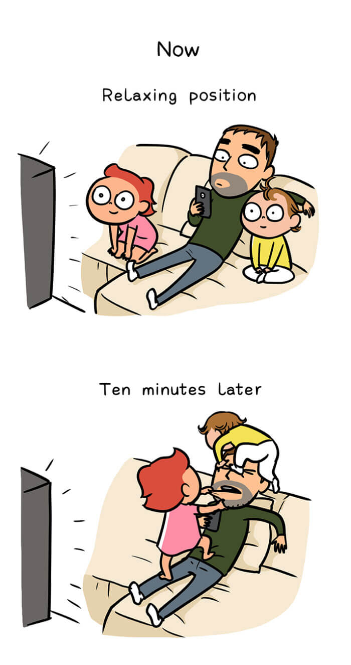 Wife Creates Hilariously Adorable Illustrations To Prove That Men Also Change When They Become Parents