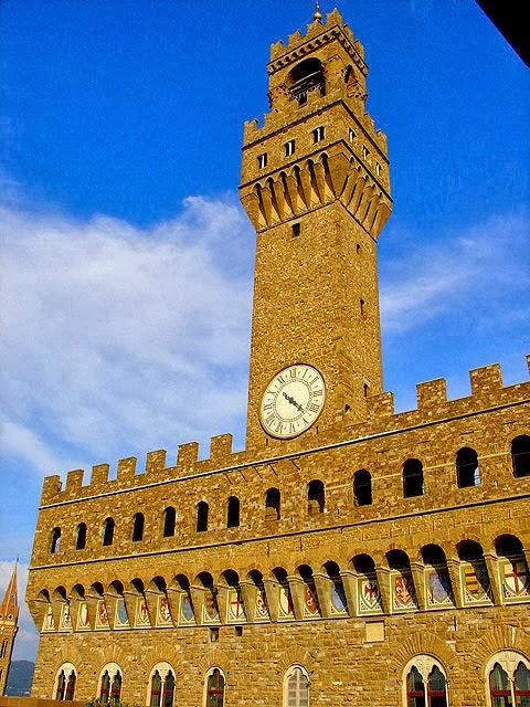 The formidable Palazzo Vecchio in Florence, Italy. All photography property of EuroTravelogue unless specifically noted.