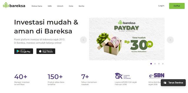 Tampilan Awal Halaman Website Bareksa.com